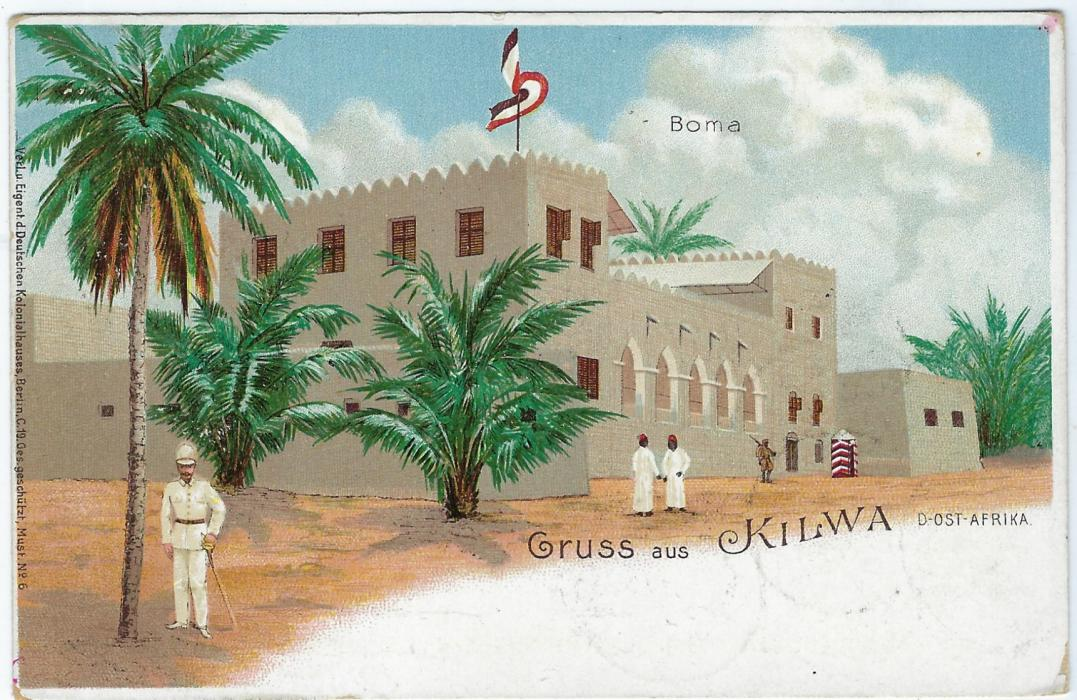 German Colonies (East Africa) 1898 5 Pesa on 10pf 'Gruss aus Kilwa' picture stationery card used to Berlin from Mohorro in 1899, Kilwa and Dar-es=Salaam transits and arrival cds at left, slight corner bumps.