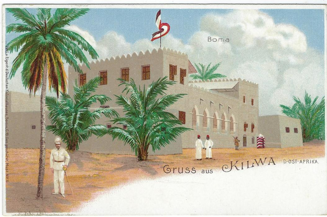 German Colonies (East Africa) 1898 3 Pesa on 5pf 'Gruss aus Kilwa' picture stationery card addressed  to Berlin but not sent, good condition.