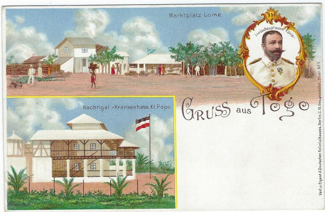 German Colonies (Togo) 1898 10pf �Gruss aus Togo� picture stationery card fine unused.