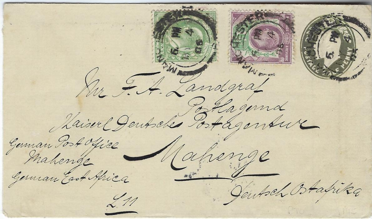 German Colonies (East Africa) 1906 incoming uprated Great Britain King Edward VII ½d. postal stationery envelope from Manchester to German Post Office at Mahenge, with Dar-es-Salaam transit of 29/5 and arrival of 29/6.