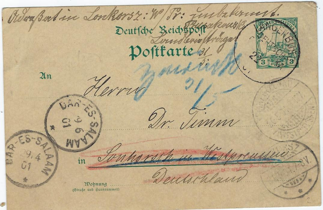 "German Colonies (East Africa) 1901 3 pesa stationery card to Germany cancelled Langenburg D-OA cds (22/4), Dar-es-Salaam transit (29/4), insufficiently addressed and not found with blue manuscript ""Zuruck 21/5"", German cancels at bottom right for arrival and despatch of card and at left Dar-es-Salaam cds of 19/6."