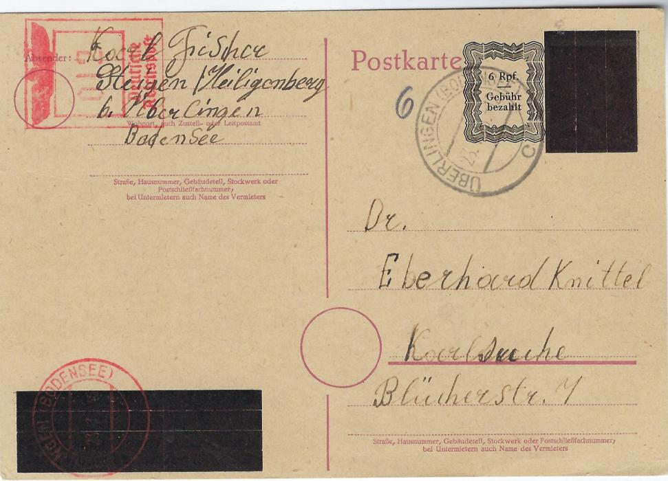 Germany (French Zone) 1945 (23.7.) obliterated 6pf Hitler stationery card  with image and slogan blacked-out, ornate framed 6 Rpf/ Gebuhr Bezahlt printed alongside , to Karlsruhe cancelled Uberlingen (Bodensee) cds and also at left be red meter mail for 12pf showing amended Eagle at top; fine condition.