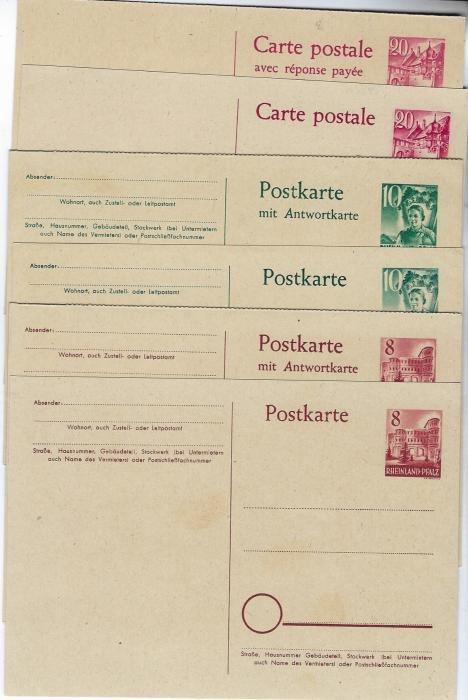 Germany (French Zone – Rheinland-Pfalz) 1948 set of six stationery cards, (P1-6), the single 8pf.  with slight fingerprints otherwise fine condition with sharp corners.