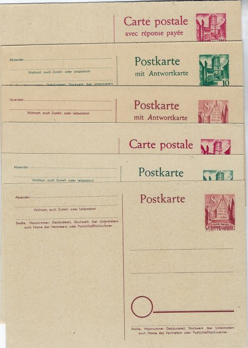 Germany (French Zone – Wurttemberg) 1948 set of six stationery cards, (P1-6)  20pf single card slight bump top right otherwise; fine condition with sharp corners.