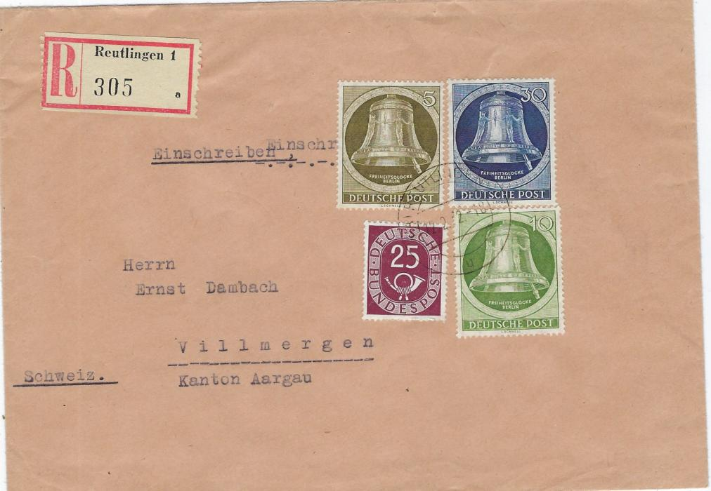 Germany (Berlin) 1952 (13.11.) registered cover to Villmergen, Switzerland franked 'clapper to right' Bell 5pf., 10pf. and 30pf. plus West German 25pf. Posthorn, arrival backstamp; fine condition.