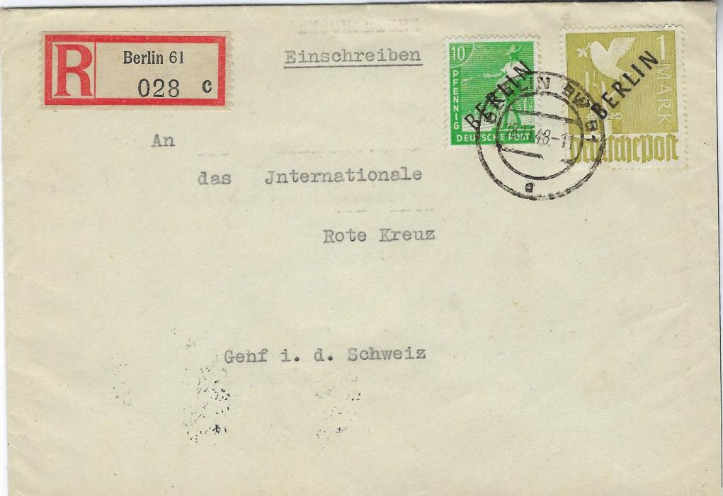 Germany (Berlin) 1948 (18.11.) registered cover to International Red Cross, Geneva franked 10pf and 1M with black overprints tied Berlin SW 61 cds, reverse with arrival cds; good condition.