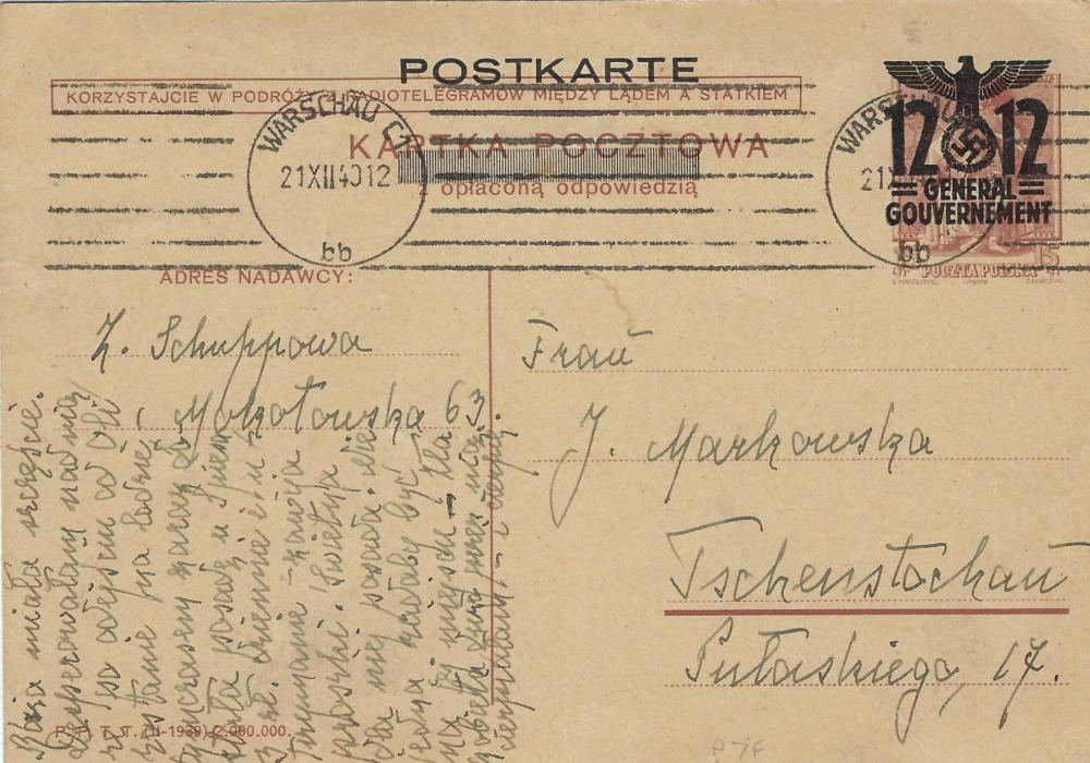 Poland (German Occupation) 1940 12(Gr) on 15Gr. brown postal stationery card, the outward part of a reply card to Tschensteschau with Warchau C1 machine despatch cancel, fine condition.