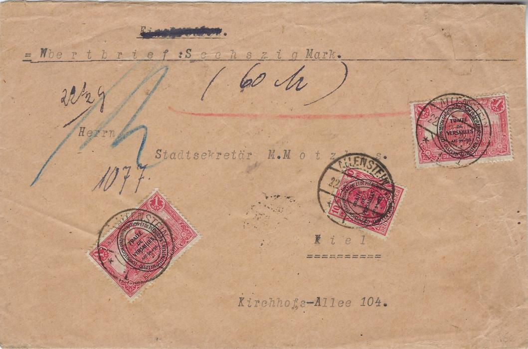 Germany (Allenstein) 1920 (22.5) insured cover for 60 mark franked 10pf. and two 1m. tied Allenstein 1 cds, Kiel arrival backstamp of 24.5.; wax seals removed from reverse.
