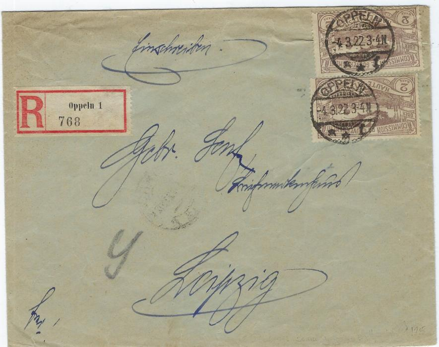 Germany (Upper Silesia) 1922 (4.3.) registered cover to Leipzig franked with two 2m. in scarce grey-brown shade (Mi. 27b) tied Oppeln cds, registration label at left, Air propaganda label tied on reverse by arrival cds; one stamp affected by envelope crease, opened three sides.