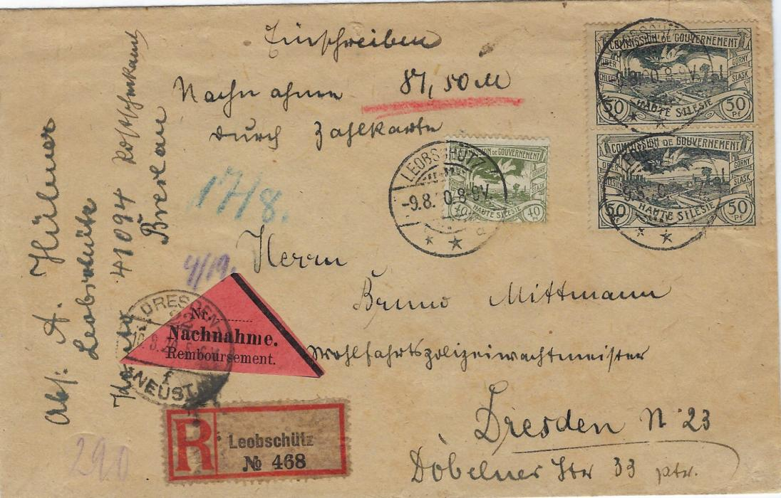 Germany (Upper Silesia) 1920 (9.8.) registered insured cover for 87.50 marks franked 40pf. and pair 50pf. tied Leobschutz cds, Nachnahme and registration labes tied by Dresden arrival cancel; some general overall toning.