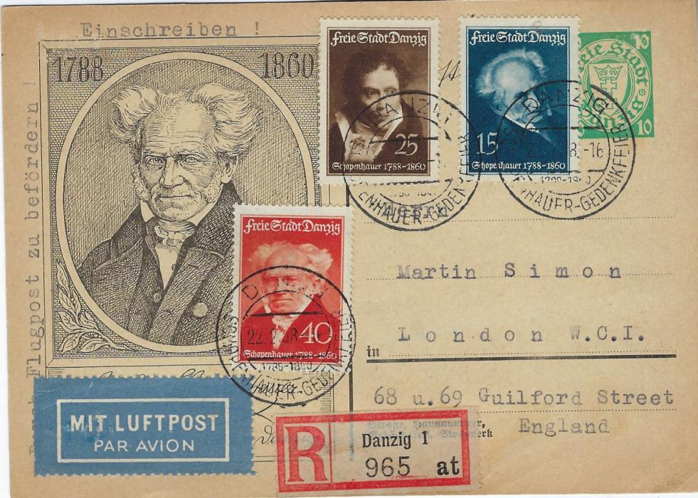 Germany (Danzig) 1934 10pf. Schopenhauer illustrated stationery card sent registered airmail cover to London, additionally franked set of three tied Danzig Schopenhauer Gedenkfeier cancels of first day of issue. Without message or arrival.