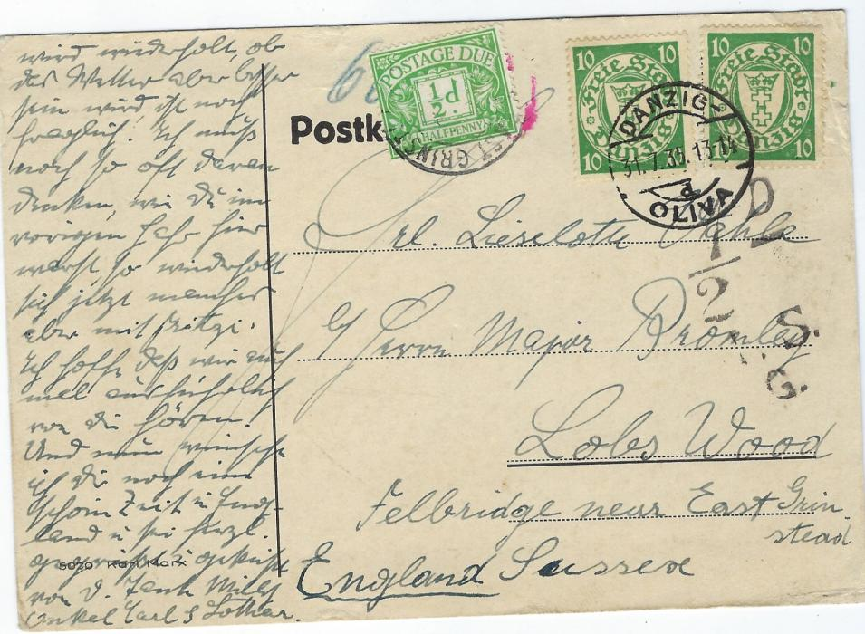 Germany (Danzig) 1936 (31.7.) plain card with long message to England franked two 10pf. cancelled Danzig- Oliva d cds, charge handstamp for '1/2d.' applied in London with Postage due applied and tied cds. Some paper abrasion on reverse.