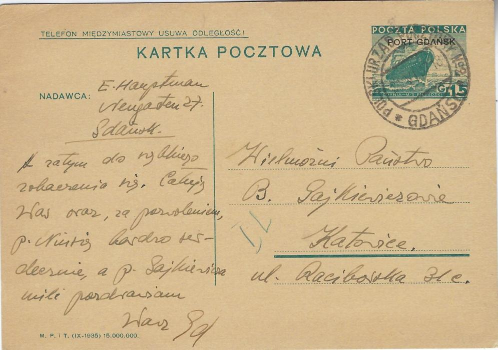 Germany (Danzig – Port Gdansk) 1937 (21.VI.) 15Gr. postal stationery card used to Katowice and cancelled by double-ring Polski Urzad Poczicky No.2 * Gdansk; fine condition.