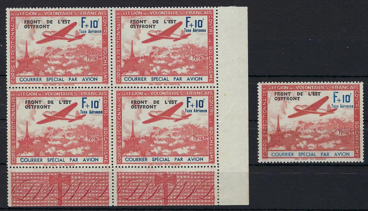 Germany (French Legion) Accumulation including carmine and blue Mi III/i missing accent in vertical marginal pair with normal, III/III with broken foot to 'F' in corner marginal pair with III/V missing accent on 'special', overprinted corner marginal block of four, position 24 missing dot over 'i', plus a single with the variety; fine mint never hinged.