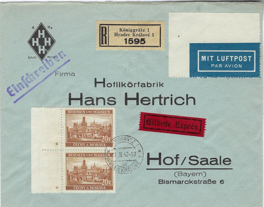 Germany (Bohemia Moravia) 1942 registered express airmail company advertising cover to Hof/ Saale franked by vertical marginal pair 20k. orange-brown with single star in each margin tied Koniggratz bilingual cancel, arrival backstamp.