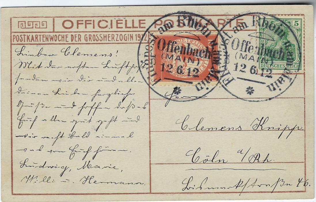 Germany (Airmail) 1912 (12.6.) Official picture card of the Royal Family to Coln franked 5pf Germania dn 10pf air vignette, both tied fine and scarce Offenbach (Main) date stamps.