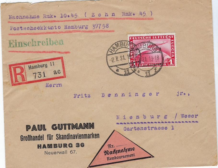 Germany (Airmail) 1931 (2.7.) registered company insured (10.45 Rmk) cover to Nienburg bearing single franking 1 RM tied by two Hamburg cds, arrival backstamp.