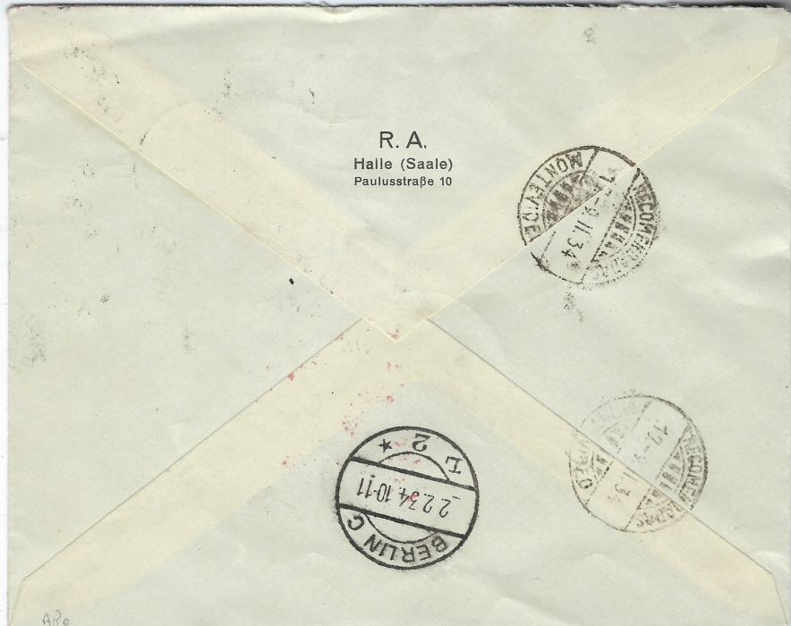 "Germany (Airmail) 1934 (2.2.) registered cover to Montevideo, Uruguay endorsed ""Mit deutscher Luftpost nach Sudamerika"", the franking including 1 RM Zeppelin and Wagner 40 + 35pf. tied Berlin C date stamps, red smudged air cachet, arrival backstamps."
