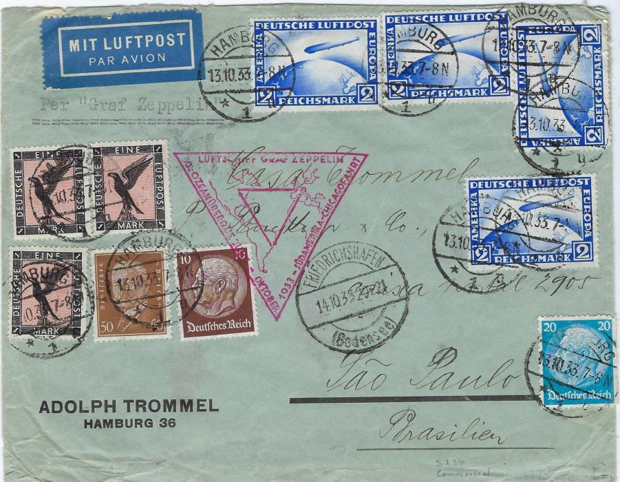 Germany 1933 (13.10.) cover endorsed 'Per Graf Zeppelin' to Sao Paulo, Brasilien, franked at 11.80Mk rate including four 2mk 'zeppelin' tied Hamburg cds, Friedrichshafen transit cds and red triangular Chicago Flight zeppelin cachet, arrival backstamp.