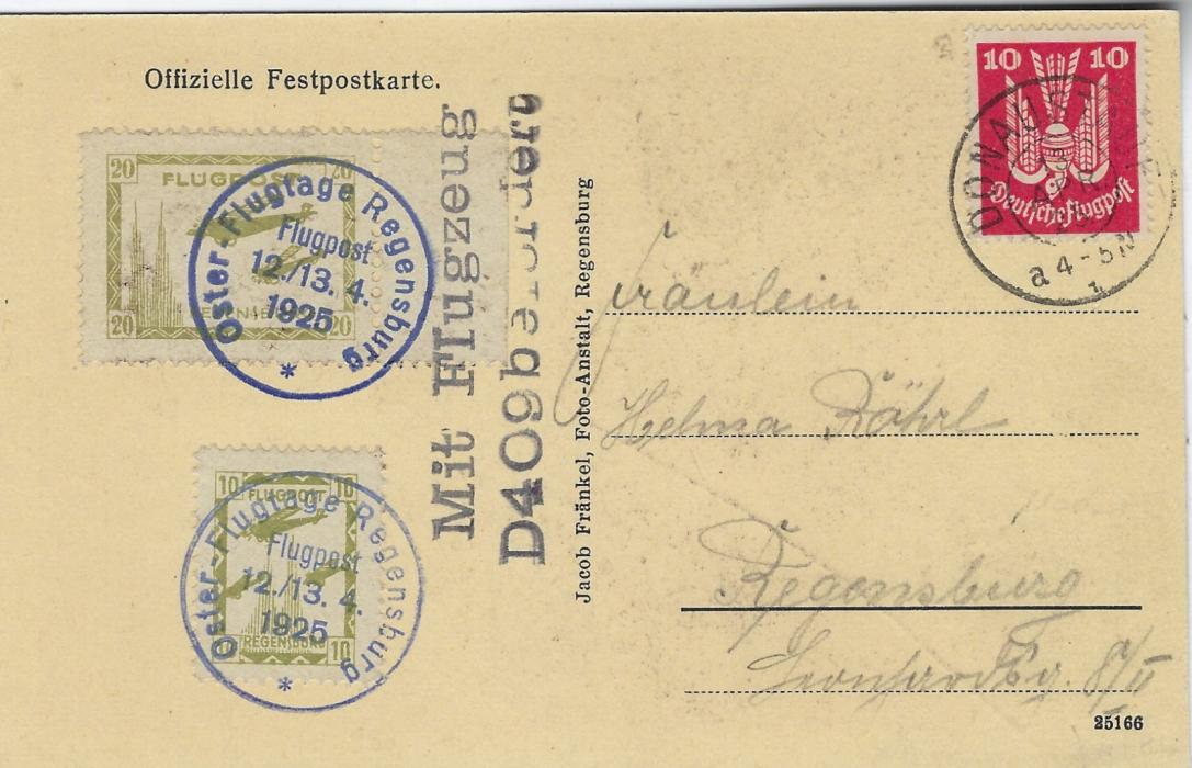 Germany (Airmail) 1925 Easter Air Day Regensburg 10pf and 20pf on Official used card on 13th april, the second day, each label tied by cds and the marginal 20pf also by two-line 'Mit Flugzeug/ D409 befordert'; very fine condition.