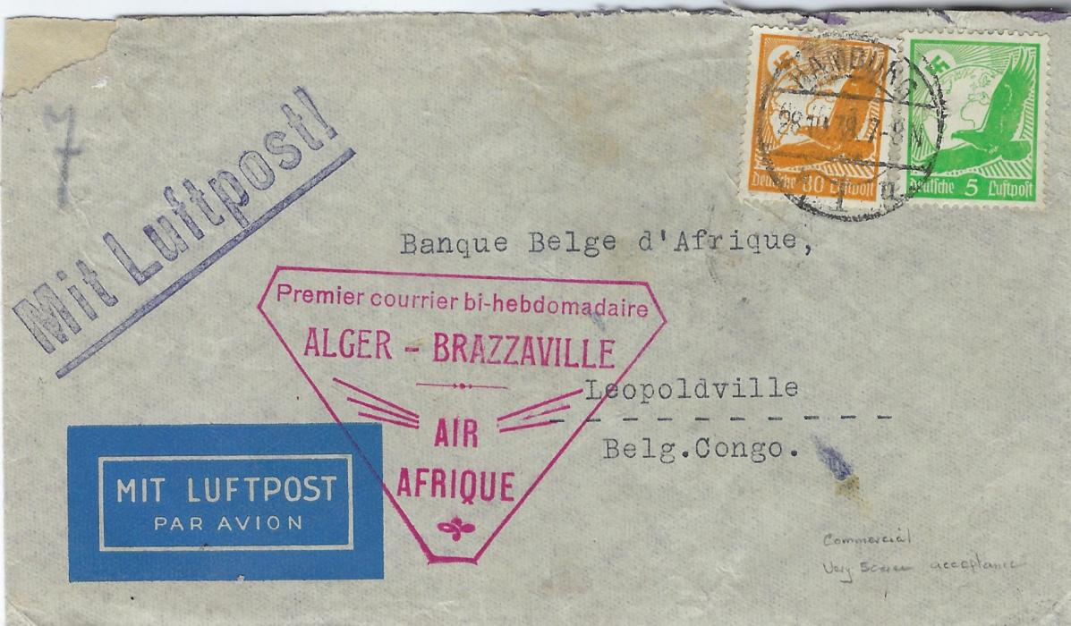 Germany (Airmail) 1938 airmail cover to Leopoldville, Belgian Congo carried on first Air Africa Alger to Brazzaville flight with red handstamp at centre, arrival backstamps; a rare acceptance.
