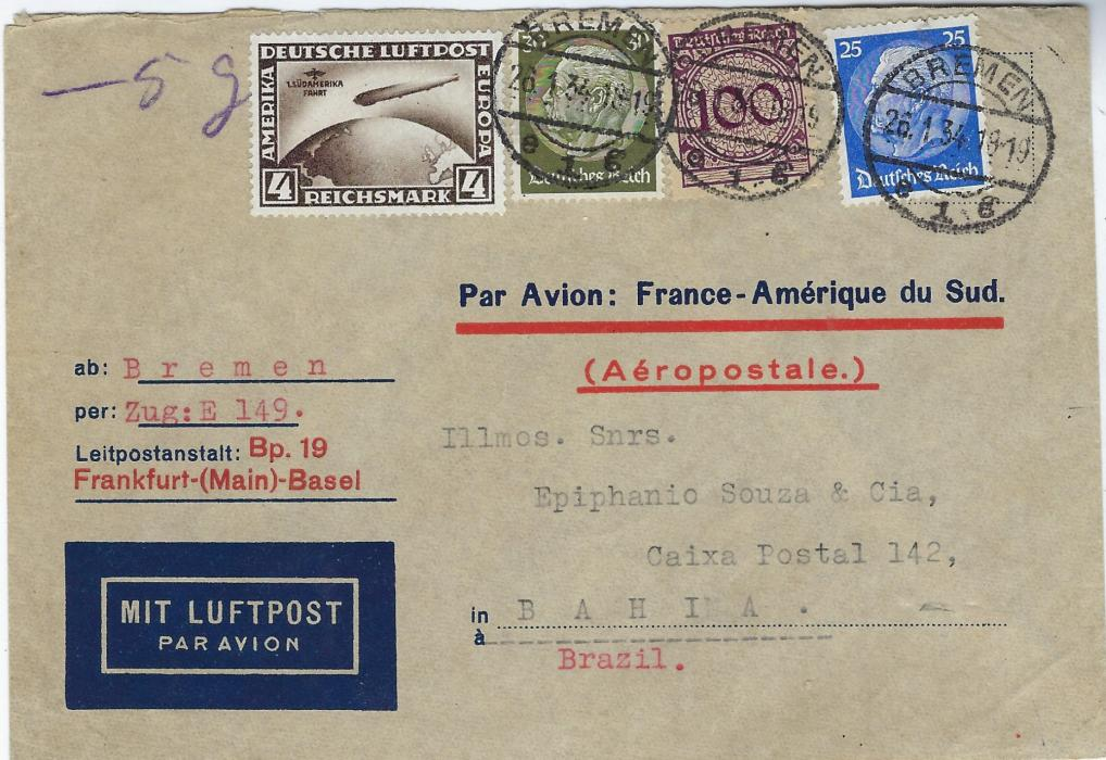 Germany (Airmail) 1934 (26.1.) airmail cover Bremen to Bahia, Brazil with printed directions for item to go via Air France with Marseille Air backstamp of 28.1. and arrival of 3.II., the franking including 4Rm South American flight zeppelin; good condition.