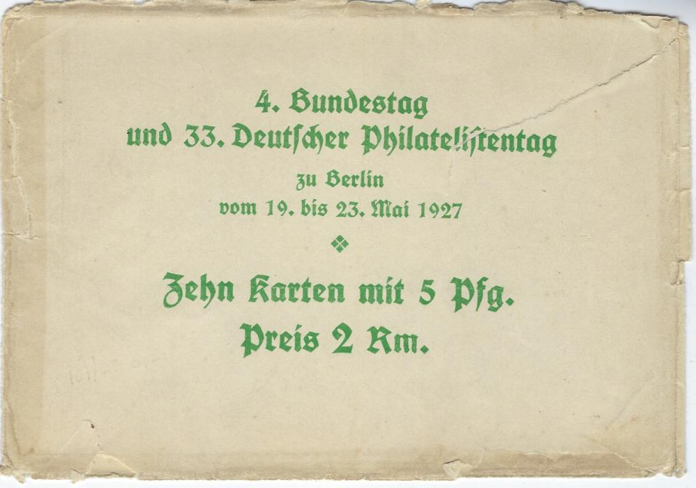 Germany (Private Postal Stationery) 1927 5pf. Schiller cards for 4. Bundestag and 33. Stamp Day set of 10 cards with a rather battered envelope; some cards with slightly bumped top right corners., fresh condition.
