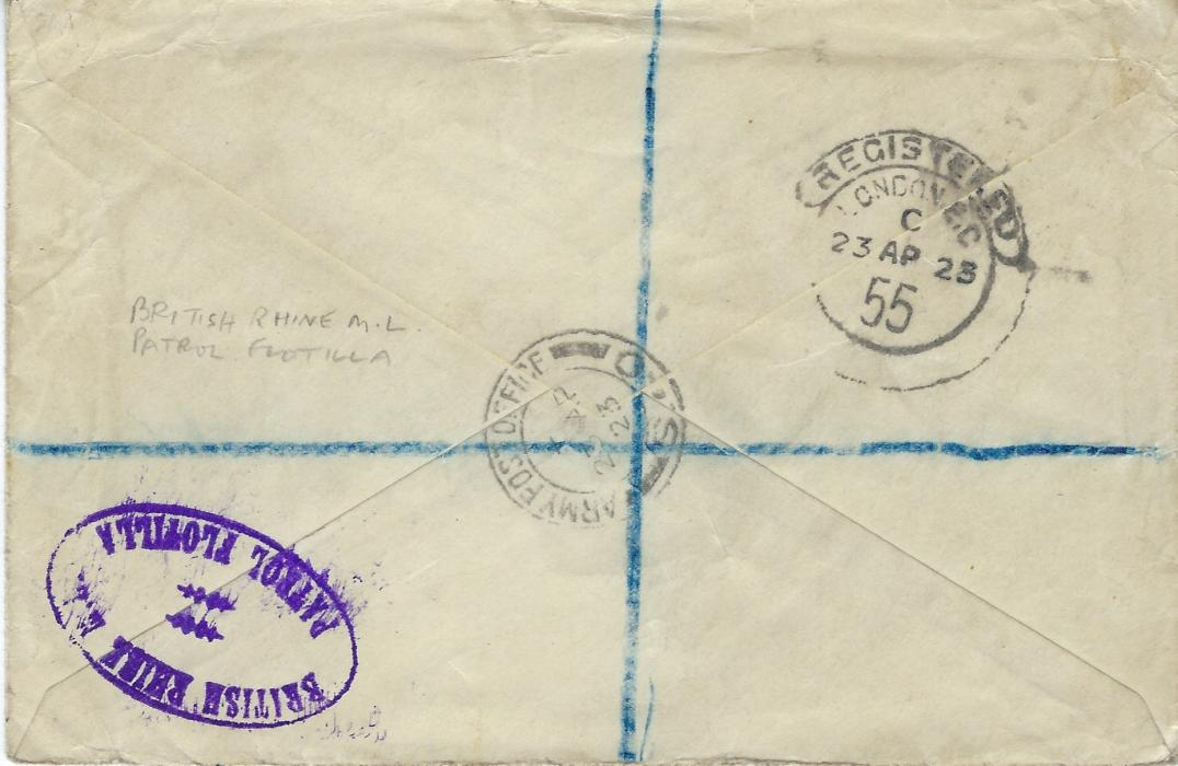 Germany (British Army Post Office) 1923 (23 AP) registered airmail cover to Glasgow granked KGV ½d. and 6d. tied Army Post Office S. 40 datestamps, further strike repeated on reverse together with violet oval British Rhine M.L./ Patrol Flotilla, Registered London transit; scarce cover but ½d. stamp damaged.