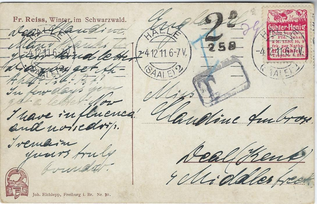 Germany 1911 picture postcard to England franked with a Honey Bee advertising label ex booklet (Mi. R21) tied Halle machine cancel with various postage due handstamps; unusual.