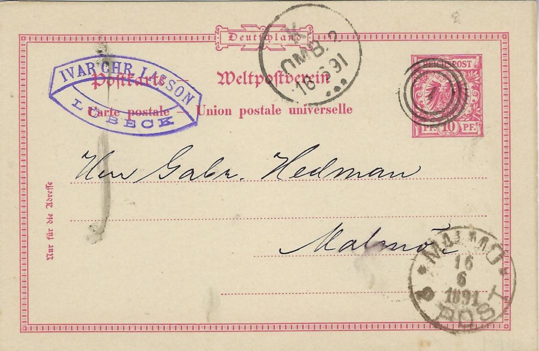 Germany 1891 10pf postal stationery card from Lubeck with company chop top left to Malmo, Sweden cancelled by fine triple ring �1� numeral of Copenhagen, Danish transit cds to left and arrival cds bottom right.