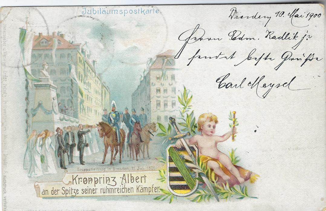 Germany 1900 5pf picture stationery card, Jubilaumspostkarte P9 (06) registered to Maltheuern additionally franked 10pf Armas and 10pf Germania tied Dresden cd, unusual registered usage.