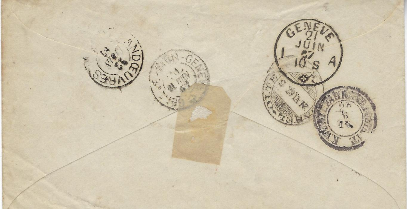 Germany (Wurttemberg) 1867 (20/6) cover to Vandoeuvres, Geneva franked two 1865 rouletted 6Kr. blue each tied by Kornthal cds, transit and arrival backstamps; some slight ageing.