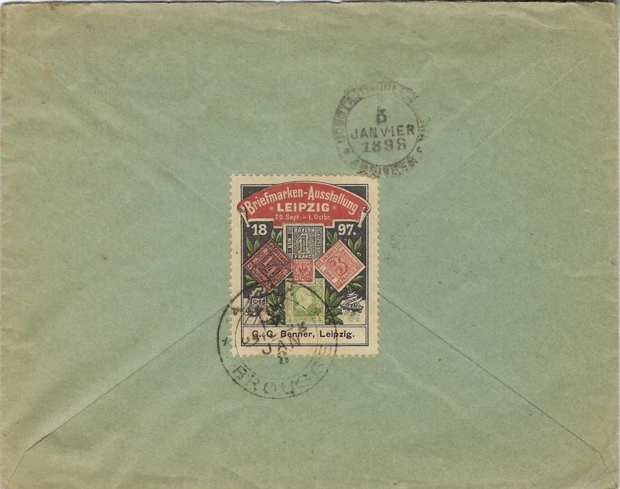 Germany (Wurttemberg) 1897 (31 Dez) cover to Brousse, Turkey underfranked with 1890 3pf. and 5pf. and 1894 2pf. grey tied Langenargen cds, framed T handstam, on arrival intaglio tax handstamp but no postage dues, arrival cancels front and back, that on reverse tying a Leipzig Stamp Exhibition vignette.