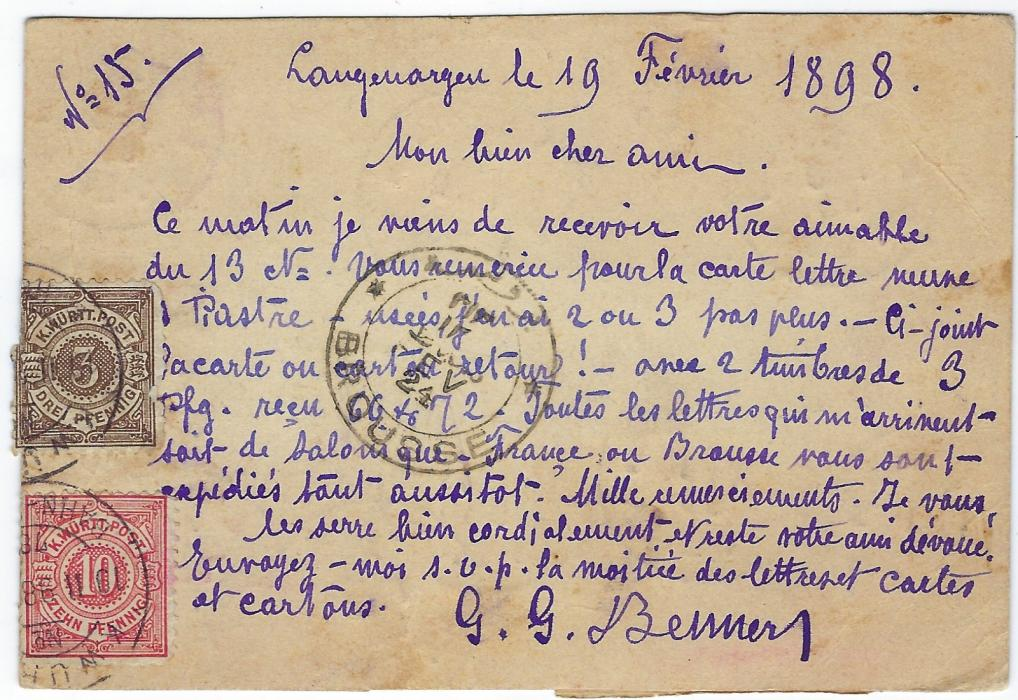 Germany (Wurttemberg) 1898 (19 Feb) registered card  to Brousse bearing a multi-franked, philatelically inspired underfranking from Langenargen, T handstamps and a blue manuscript erased in pen as reverse with 3pf. and 10pf. cancelled only on arrival, further transit on front together with arrival cds; striking item.