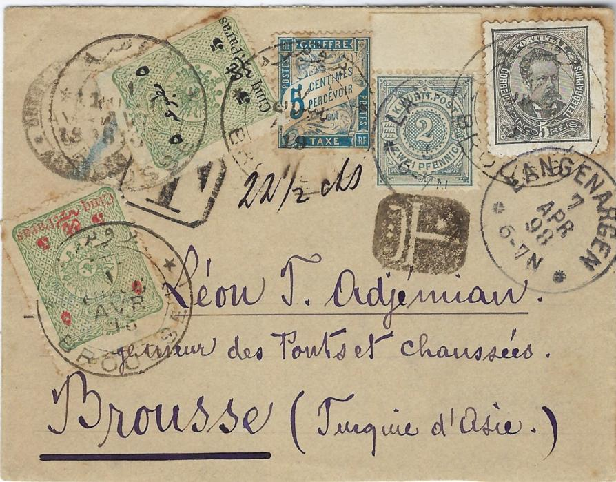 """Germany (Wurttemberg) 1898 (7 Apr) philatelically inspired cover  to Brousse underfranked with 1894 2pf. grey tied Langenargen cds, also franked by Portuguese 5r. and a French 5c. postage due, framed T handstamp and manuscript """"22 ½ cts"""", intaglio T seal on arrival and 5pa. on 10pa black and red surcharges added tied arrival cds; unusual"""