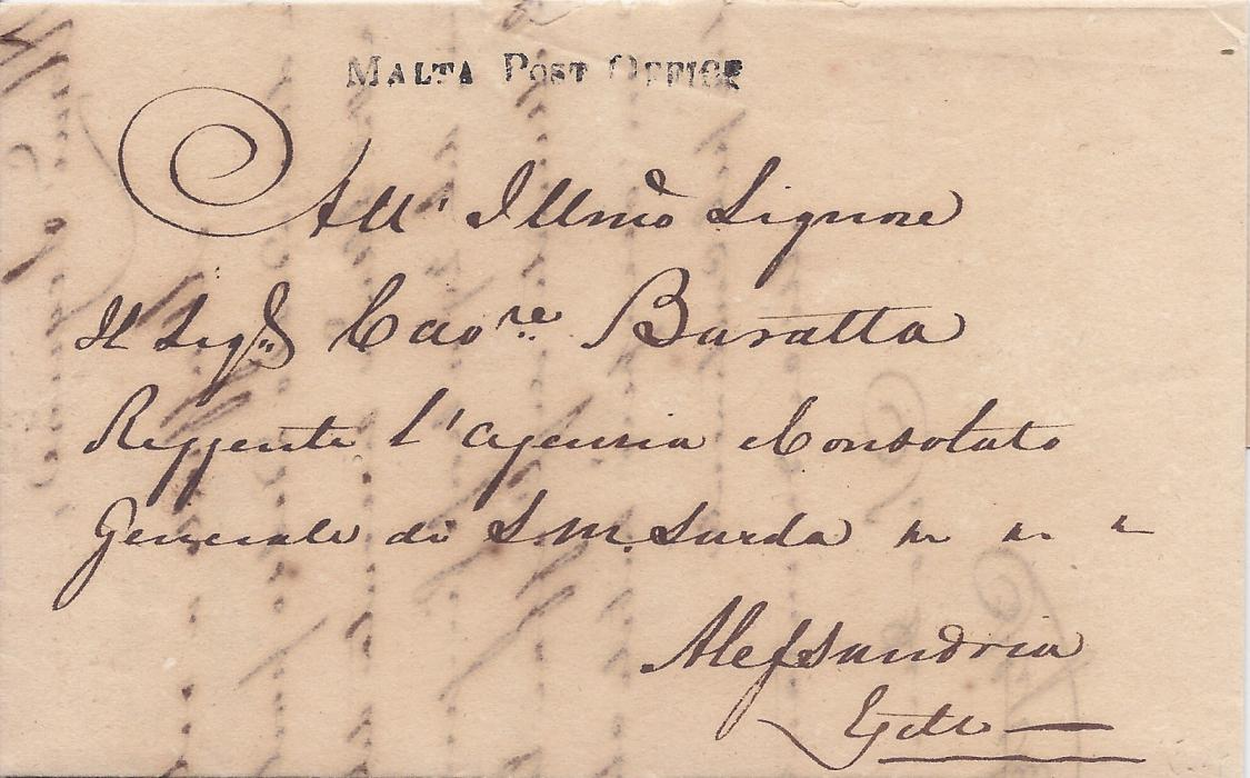 Malta 1836 entire to Sardinian Consul at Alexandria, Egypt bearing fine straight-line MALTA POST OFFICE handstamp, without backstamps, slight damage above cancel.