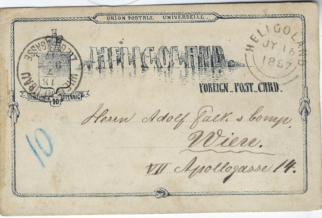 German States (Heligoland) 1887 10pf. postal stationery card to Wien, Austria bearing despatch cds at right and arrival at left. With full message on reverse, a scarcer destination.