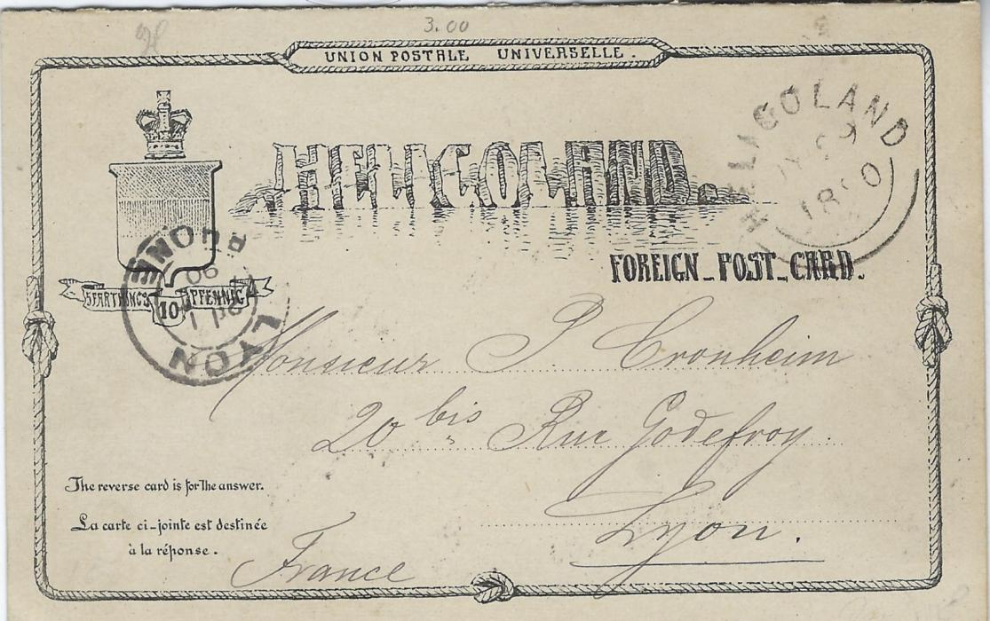 German States (Heligoland) 1890 (JY 29) 10pf. reply postal stationery card, philatelic without message, used very late just 12 days before end of validity, despatch cds top right and Lyon Rhone arrival at left. Reply section still attached unused.