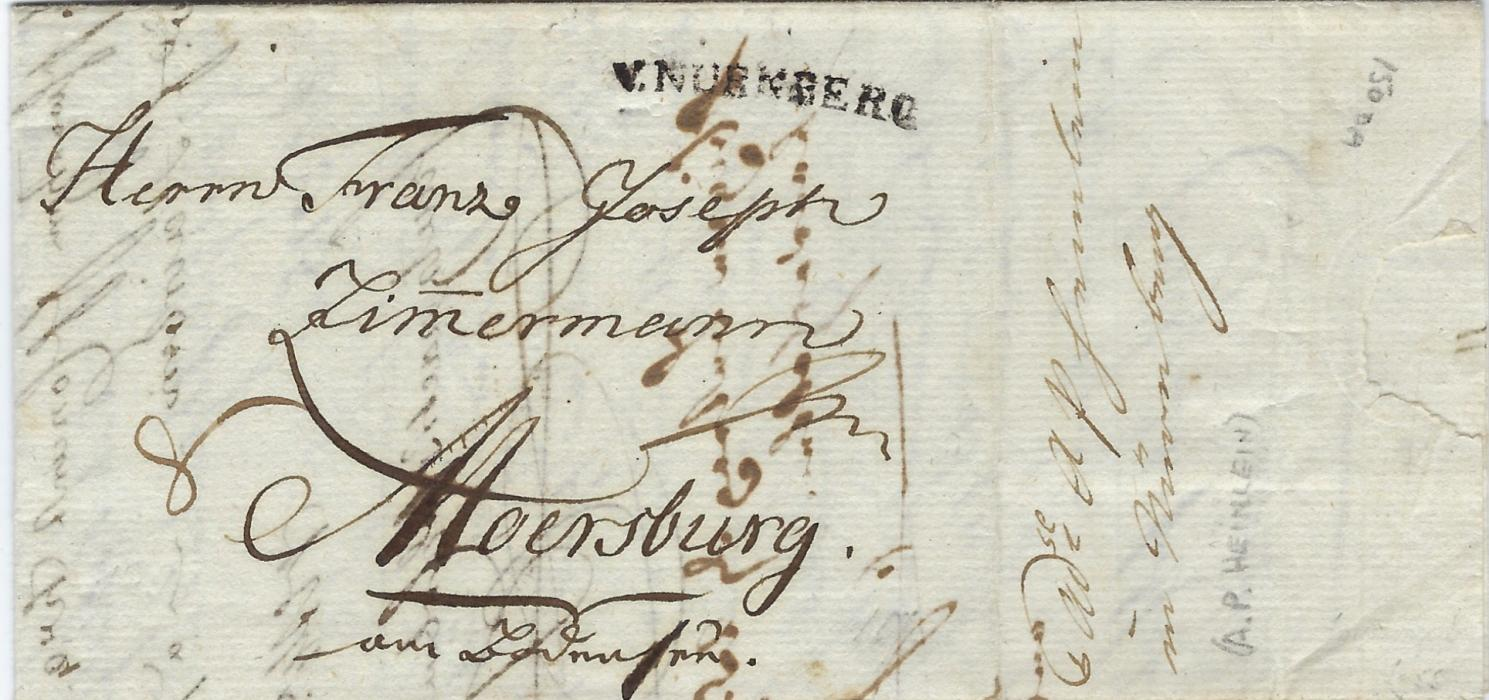 Germany (Bavaria -Forwarding Agents) 1798 entire with invoice from Gera to Moersburg bearing forwarding agents details of A.P. Heinlein at Nurnberg on side panel, front bearing cursive V.NURNBERG handstamp