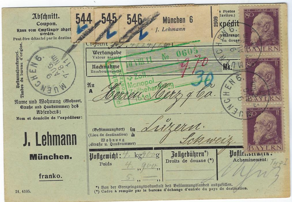 Germany (Bavaria) 1911 (9 Aug) parcel card from Munich to Switzerland franked vertical strip of three type I 80pf. (Mi. 85I), tied Muenchen cds; good condition.