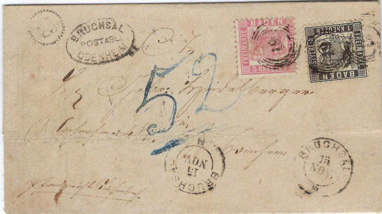 Germany (Baden) late 1860s entire franked 1862 perf 10 1k and 3k cancelled with four-ring '19' numerals, two Bruchsal cds below, at left oval framed Bruchsal/ Postabl/ Odenheim handstamp; vertical and horizontal filing creases.