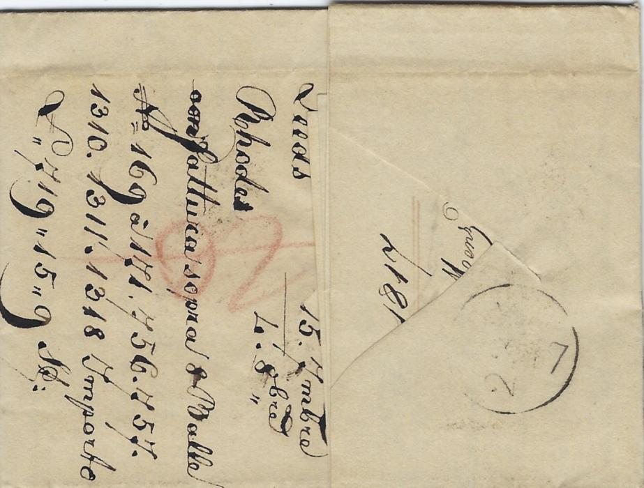 Germany (Bremen transit mail) 1817 entire from Leeds, England to Bolzano, Italy, endorsed