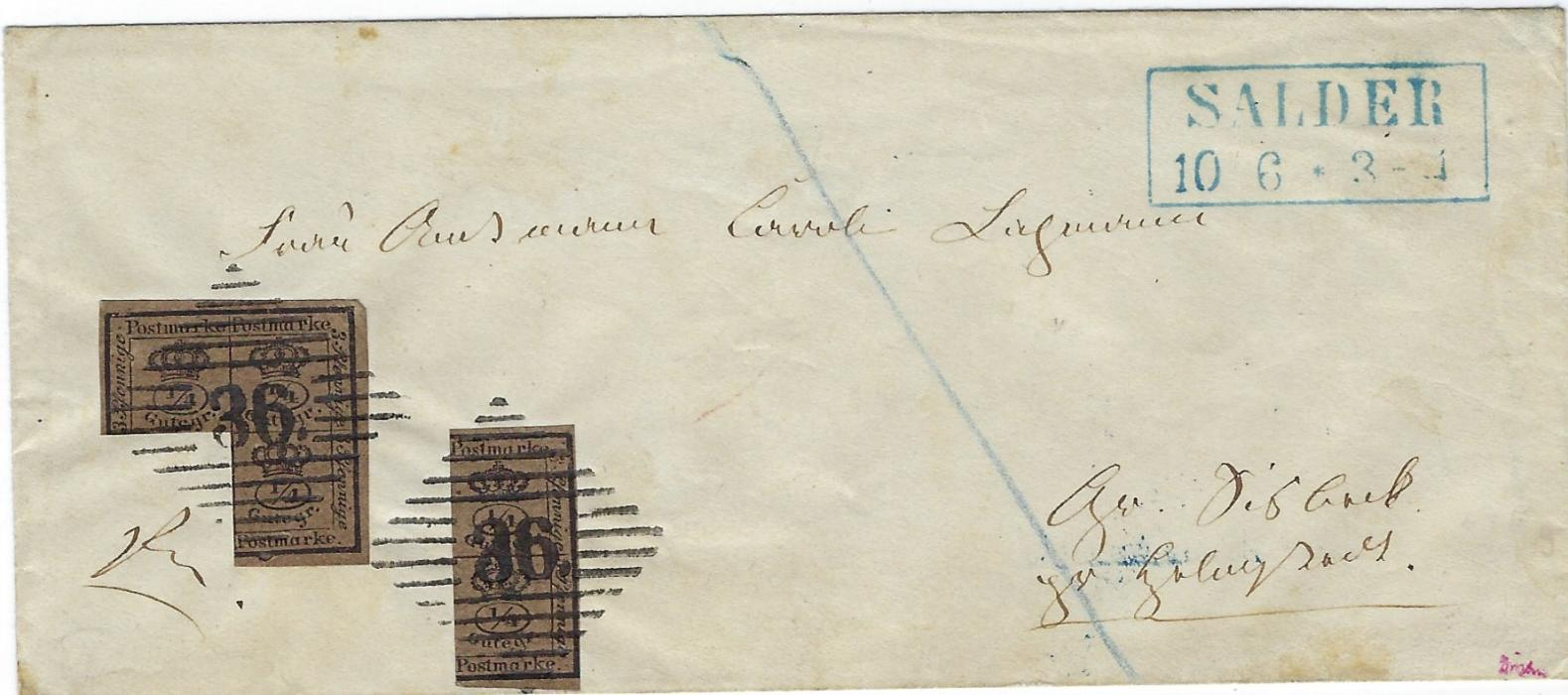 German States (Brunswick) late 1860s cover franked with 1867 pair and block of three ½ Ggr tied by fine clear '36' numerals, framed two-line Salder date stamp, reverse with framed Helmstedt and double-ring Wolfenbuttel date stamp; fine clean condition with Brettl BPP handstamp.