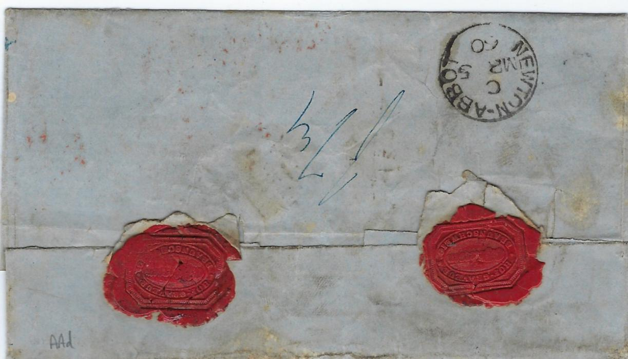 German States (Brunswick) 1860 (3 Marz) registered outer letter sheet to Newton Abbot, England bearing double-ring Braunschweig date stamp, red circular framed 'P' and cursive (Crown)/ REGISTERED handstamp, Prussia/ (crown)/ Registered and London Paid cancels, arrival backstamp of MR 5.