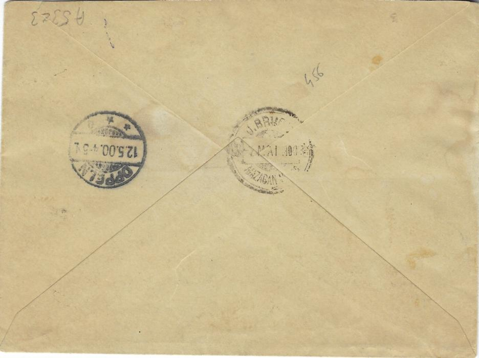 Morocco (German Post Offices) 1900 (30 Avr) cover to Oppeln franked Local Post 'Mazagan – Marakech' tied J. Brudo Marakech Maroc date stamps, additionally franked German Post Offices 3c. on 3pf. (2), 5c. on 5pf. (2) and 10c. on 10pf. tied Mazagan Deutsche Post cds, arrival backstamp, some water staining on envelope.