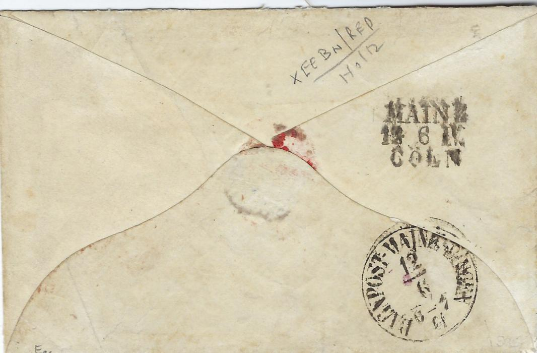 German States (Thurn und Taxis) 1862 (12 Jun) cover to Canal Fulton, Stark County, Ohio franked 1859-61 1Kr. (2), 9Kr. and 30Kr., the 1Kr with touched margins, the 9Kr. with large margins showing parts of 7 adjoining stamps and 30Kr. with touched margin bottom left, a right-hand marginal, tied 104 four-ring numerals, Darmstadt despatch top right overstruck red transit Aachen Paid 23 Cts and Boston Br Pkt 28 Paid, reverse with Mainz/Coln tpo and Bahnpost Mainz-Bingen date stamp.