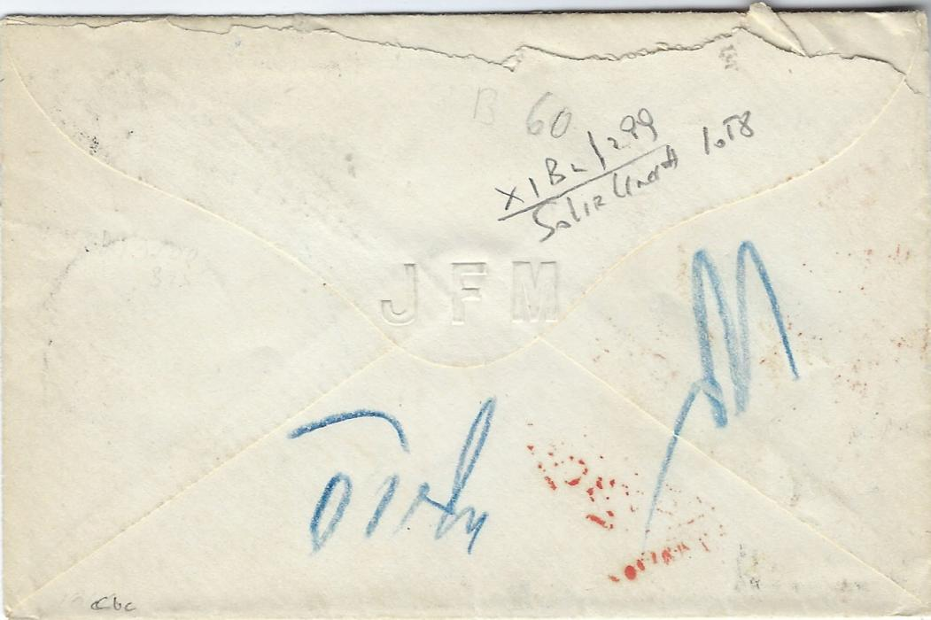 German States (Thurn und Taxis) 1860s cover to Walden, Orange County, New York franked 1859-61 5 Sgr.  (2, with touched margins) and 1865-66 rouletted 2 Sgr. dull blue tied 234 four-ring numerals, Jena  cds in association, red transit Aachen Paid 23 Cts and New York Am Pkt ? Paid, attractive neat transatlantic cover.
