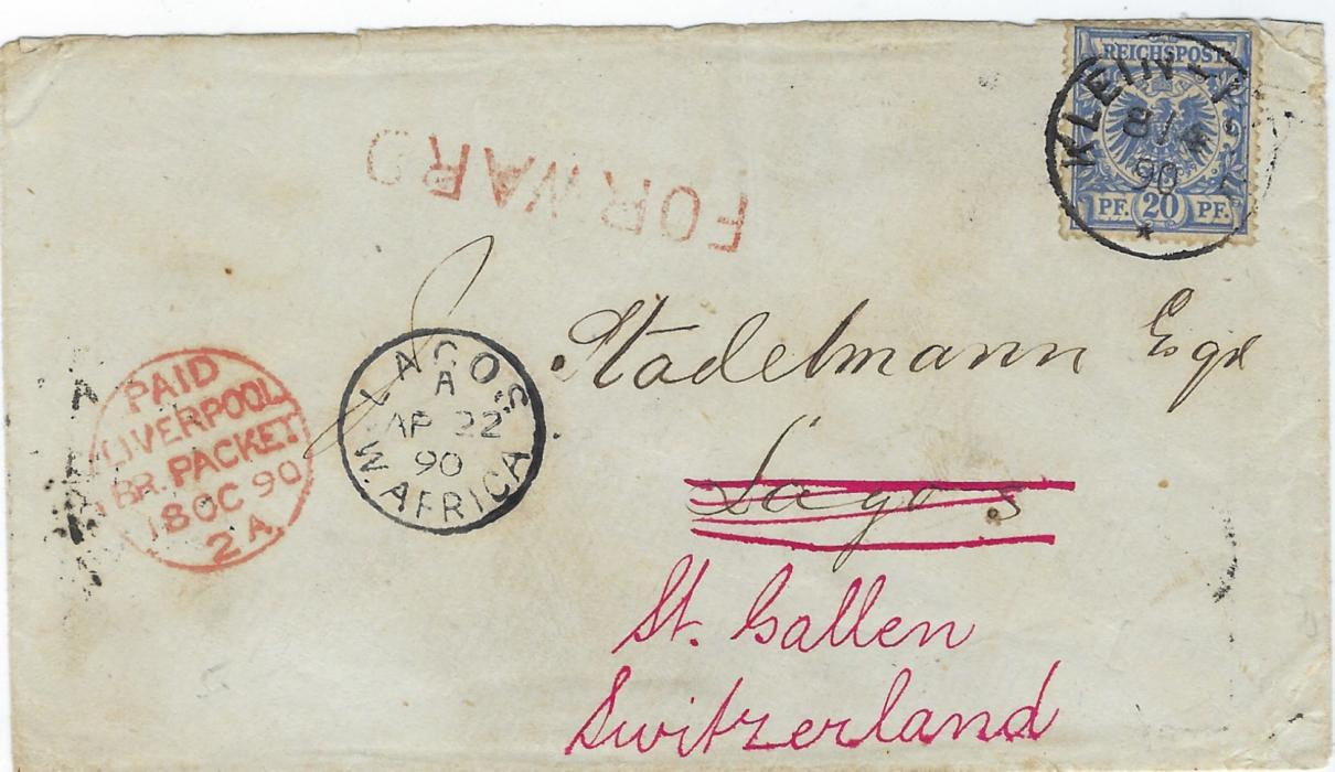 German Colonies (Togo) 1890 (8/4) cover to Lagos bearing Germany 20pf. forerunner tied Klein-Popo cds, Lagos W. Africa arrival cds, re-addressed to St Gallen, Switzerland with red FORWARD handstamp, Liverpool transit, reverse with Accra transit and arrival cds; fine early cover, Ex Sacher.