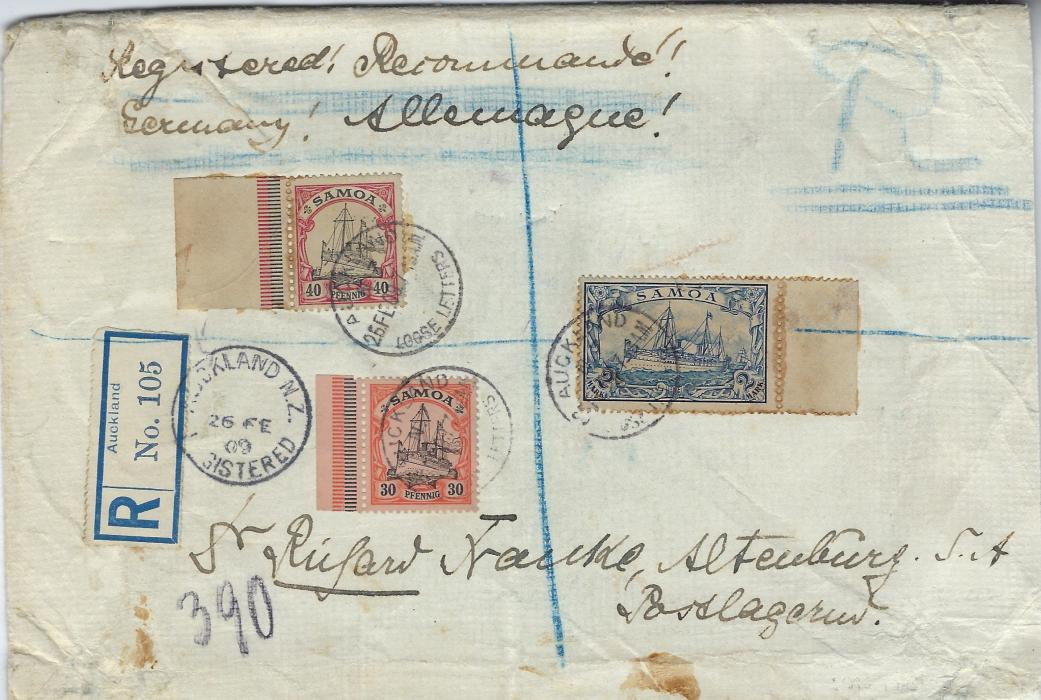 German Colonies (Samoa) 1909 (26 FE) registered cover to Altenburg, Germany franked 1900 30pf., 40pf. and 2M., each a marginal, not cancelled on despatch so  each cancelled in transit  Auckland N.Z. Loose Letters cds, Auckland registration label tied by cds, the envelope having been endorsed Registered in English and French but without label; a heavy linen backed envelope, some toning, unusual and rare.