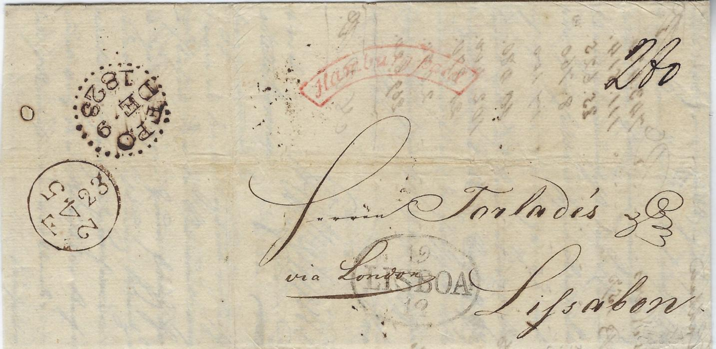 German States (Hamburg) 1823 entire to Portugal bearing framed Hamburg Paid cursive framed handstamp of the British Post Office and stated to be the last recorded date of use, oval-framed Lisboa arrival and manuscript 280 reis charge, reverse with London FPO transit; fine and rare
